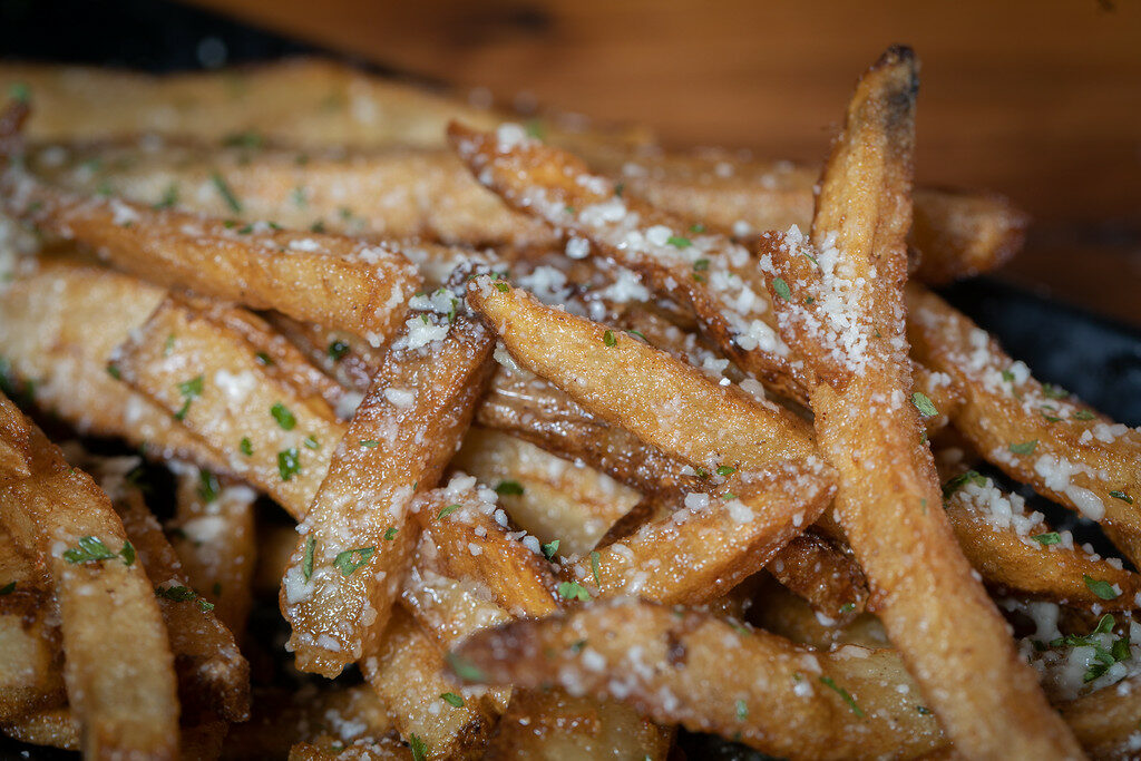 Garlic Parm fries close up